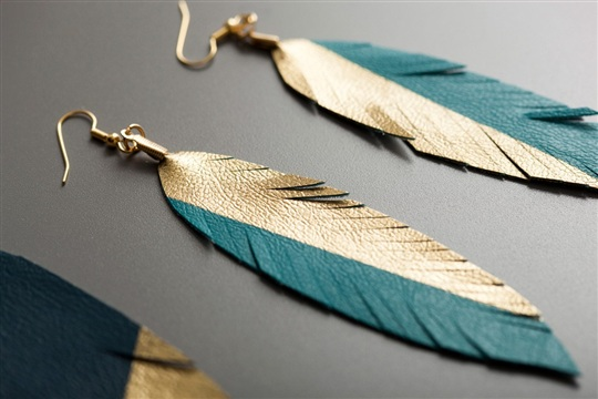 How to Make Gold Dipped Leather Feather Earrings