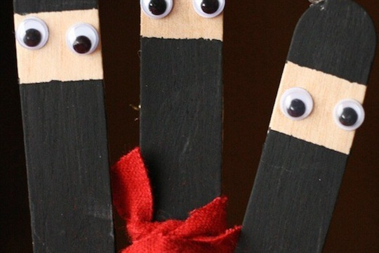 Ninja Craft Stick Ornaments