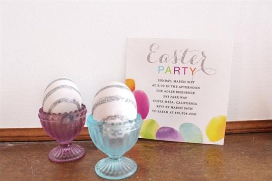 Silver Glitter Striped Easter Egg DIY