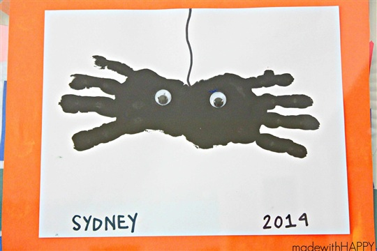 Handprint Spiders Halloween Kids Craft