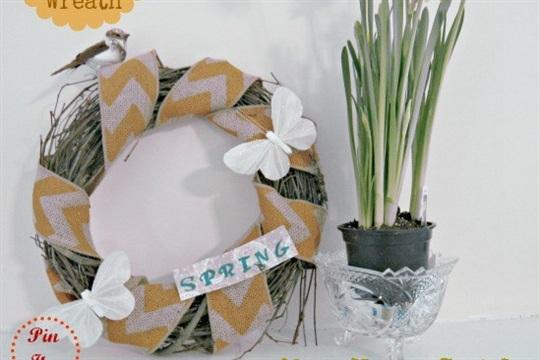 Tweet Burlap and Chevron Wreath for Spring