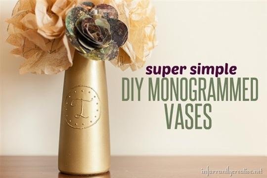 Gold DIY Monogrammed Vase