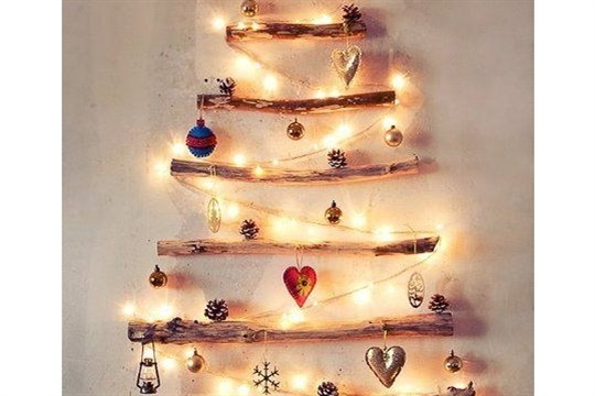 A Great Way To Fake A Christmas Tree With Branches And Lights DIY