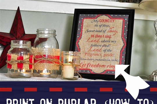 Print on burlap {how to} + patriotic mini bunting